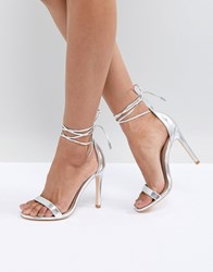 True Decadence Silver Ankle Tie Heeled Sandals