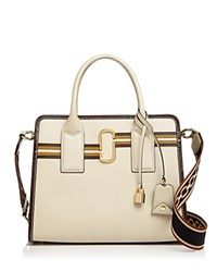 Marc Jacobs Big Shot Striped Leather Satchel Parchment Multi Gold