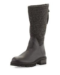 Knitted Shaft Leather Knee Boot Black Carbon Nero Carbone Henry Beguelin