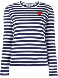 Comme Des Garcons Play Striped Longsleeved T Shirt Blue