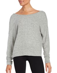 Project Social T Knit Scoop Back Sweater Grey