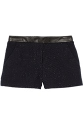 Karl Lagerfeld Nicole Leather Trimmed Metallic Boucle Shorts