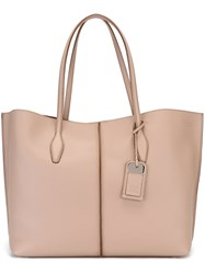 Tod's Tag Detail Tote Nude And Neutrals