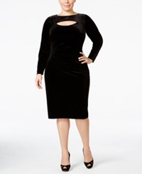 Inc International Concepts Plus Size Velvet Cutout Sheath Dress Only At Macy's Deep Black