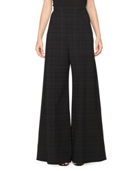 Roland Mouret Caldwell Plaid Crepe Wide Leg Trousers Black