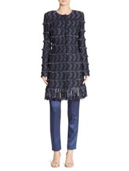 St. John Tara Tweed Fringe Jacket Navy Multi