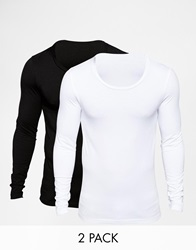 Asos Extreme Muscle Fit Long Sleeve T Shirt With Scoop Neck 2 Pack Save 19 Whiteblack