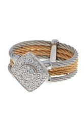 Alor 18K White Gold And Stainless Steel Diamond Pave Ring 0.25 Ctw Gray