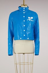 Courreges Vinyl Short Jacket Bleu