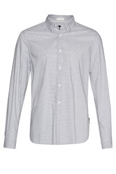 French Connection Men's Horizontal Oxford Peach Striped Shirt Blue