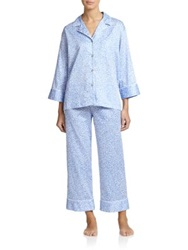 Natori Leopard Pajama Set Grey Blue