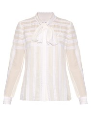 Oscar De La Renta Long Sleeved Lace Trim Silk Blouse White