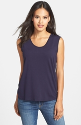 Eileen Fisher Scoop Neck Jersey Tee Midnight