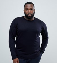 French Connection Plus Plain Logo Crew Neck Knit Jumper Navy