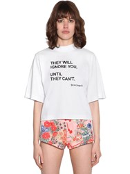 Palm Angels Printed Cotton Jersey T Shirt White