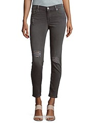 Hudson Distressed Super Skinny Ankle Jeans Stormy