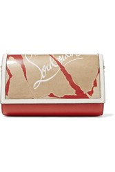 Christian Louboutin Paloma Kraft Spiked Printed Textured Leather And Pvc Clutch One Size