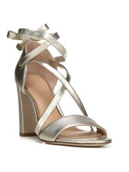 Diane Von Furstenberg Calabar Lace Up Metallic Leather Block Heel Sandals Gold