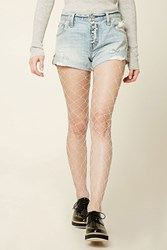 Forever 21 Sheer Fishnet Tights Light Blue