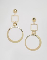 Glamorous Square And Circle Drop Earrings Gold