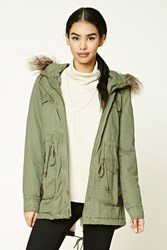 Forever 21 Hooded Faux Fur Trim Parka Olive