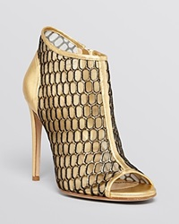 Jerome C. Rousseau Open Toe Evening Booties Adelaide High Heel Gold
