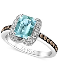 Le Vian Aquamarine 1 1 10 Ct. T.W. And Diamond 2 5 Ct. T.W. Ring In 14K White Gold