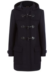 Jaeger Wool Blend Duffle Coat Navy
