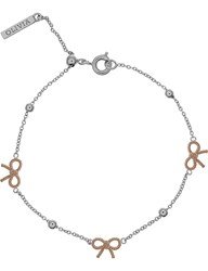 Olivia Burton Bow And Ball Silver And Rose Gold Bracelet