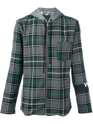 Mcq By Alexander Mcqueen Hooded Check Shirt Grey