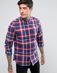 Fred Perry Tartan Long Sleeve Shirt In Red Red