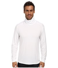 Hot Chillys Peach Solid Roll T Neck White Long Sleeve Pullover