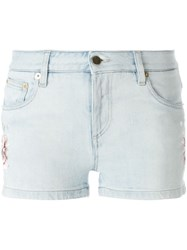 Roberto Cavalli Floral Embroidered Denim Shorts Blue