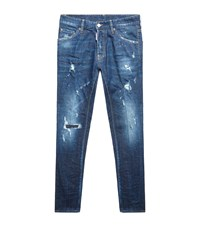 Dsquared2 Distressed Cool Guy Paint Splatter Jeans Male Navy