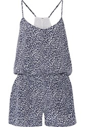 Joie Lawanda Printed Silk Playsuit Blue
