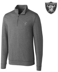 Cutter And Buck Men's Oakland Raiders Shoreline Quarter Zip Pullover Charcoal