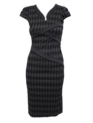 Feverfish Dogtooth Mandarin Collar Dress Black