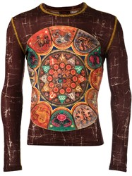 Jean Paul Gaultier Vintage Zodiac Print Top Brown
