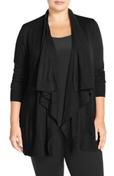 Plus Size Women's Sejour Drape Front Cardigan Black
