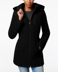 Laundry By Design Petite Hooded Quilted Jacket Black