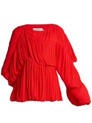 Preen Heather Pleated Georgette Blouse Red