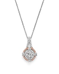 Bloomingdale's Diamond Halo Pendant Necklace In 14K White And Rose Gold .70 Ct. T.W. White Rose