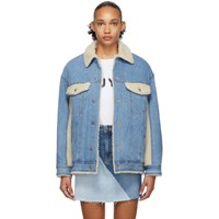 Sjyp Blue Denim Sherpa Jacket