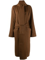 Salvatore Ferragamo Wrap Neck Belted Coat Brown