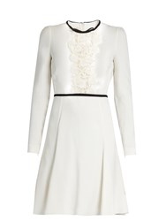 Giambattista Valli Lace Panelled Long Sleeved Cady Dress Ivory