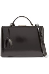 Mark Cross Grace Small Glossed Leather Shoulder Bag Black