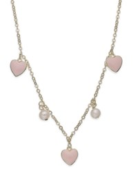 Lily Nily Children's 18K Gold Over Sterling Silver Necklace Pink Enamel Heart And Cultured Freshwater Pearl Station Necklace