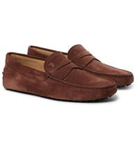 Tod's Gommino Suede Driving Shoes Brown