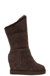 Australia Luxe Collective Cosy Shearling Lined Tall Wedge Boot Chocolate Brown