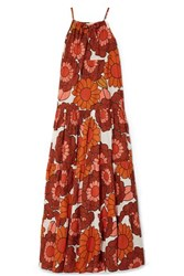 Dodo Bar Or Dorothy Tiered Floral Print Cotton Voile Maxi Dress Orange